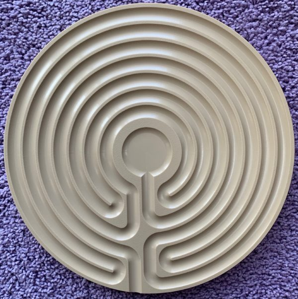 tan plastic Cretan finger labyrinth