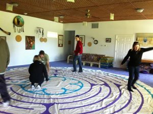 people enjoying Chartres Essence canvas labyrinth