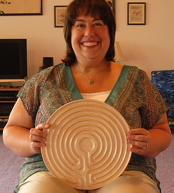 woman with maple Cretan labyrinth