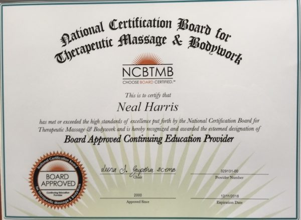CEU Licenses/Certificates that Relax4Life Center is a Provider For