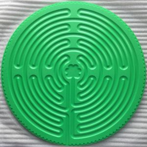 green plastic Chartres labyrinth
