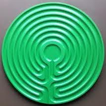 green plastic Cretan labyrinth